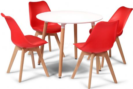 Toulouse Tulip Eiffel Designer Dining Set White Round Table & 4 Red Chairs Sale Now On Your Price Furniture